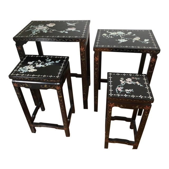 Mid Century Asian Black Lacquer Nesting Tables - Set of 4 For Sale
