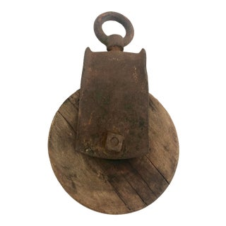 Antique Wood Pulley For Sale
