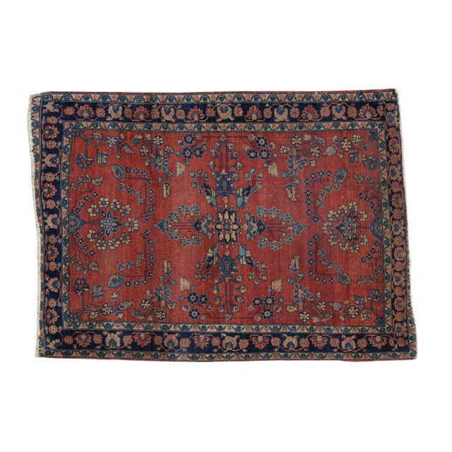 "Antique Manchester Kashan Square Rug - 3'4"" X 4'6"" - Image 1 of 8"