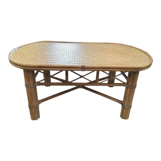 McGuire Oval Rattan Coffee Table For Sale