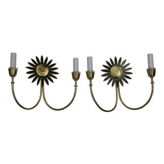 Wall Sconces With Sunflower Motif and Polished Brass Freshly Electrified - a Pair For Sale