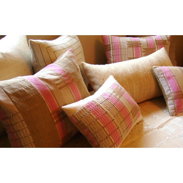 African Boho Chic Handwoven Aso Oke Khaki and Pink Cotton Pillow Cover For Sale - Image 10 of 11