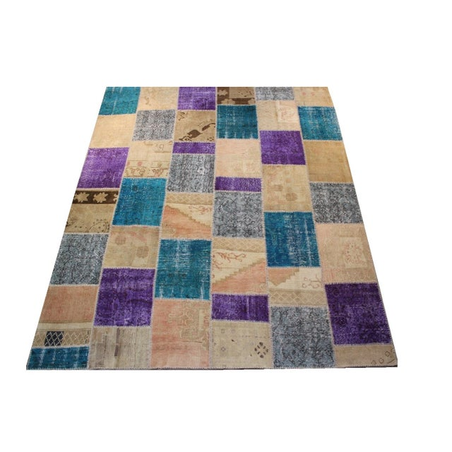 Turkish Patchwork Multicolored Rug - 8′ × 9′10″ - Image 2 of 7