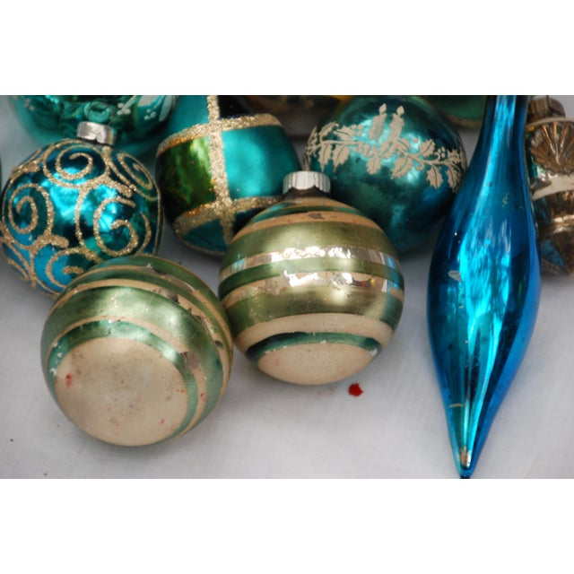Vintage Blue and Green Glass Ornaments - Set of 11 - Image 4 of 10
