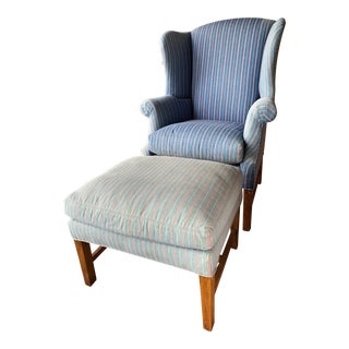 Bob Timberlake for Lexington Home Brands Denim Wingback Chair & Ottoman For Sale