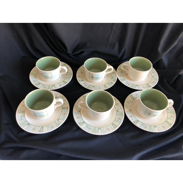 """1950s Midcentury Starburst Design """"Cathay """" Taylor Smith & Taylor Teacups and Saucers S/6 For Sale - Image 5 of 7"""