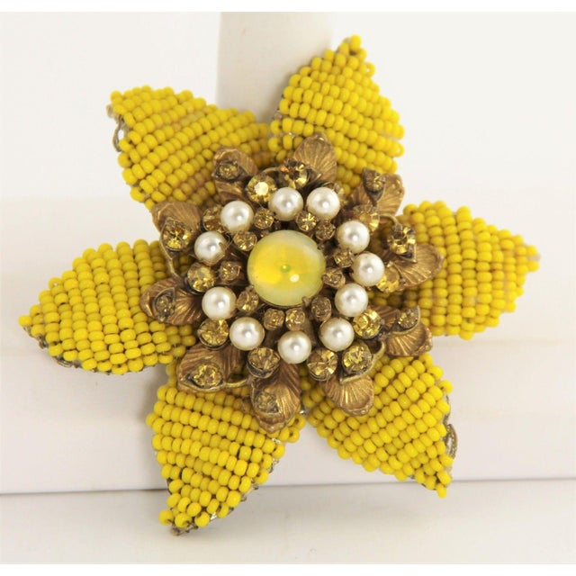 1940s Vintage Miriam Haskell Large Beaded Flower Brooch For Sale - Image 5 of 5