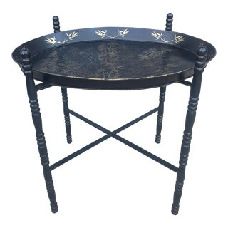 20th Century Chinoiserie Black and Gold Folding Tray Table