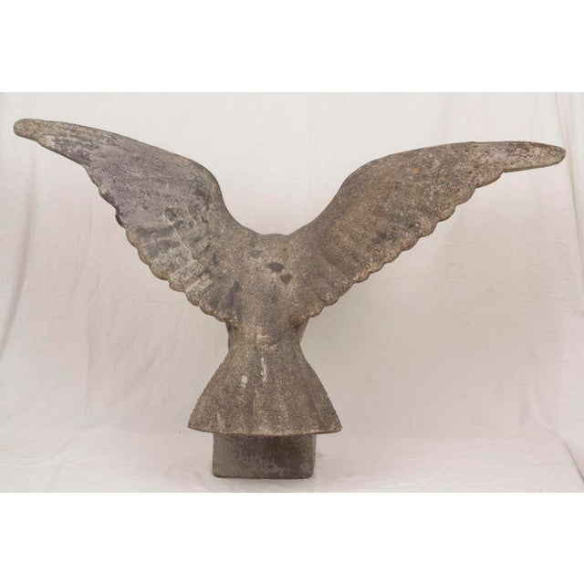 A great looking and large cast stone eagle with spread wings perched on a block. We brought this piece over from Sweden...
