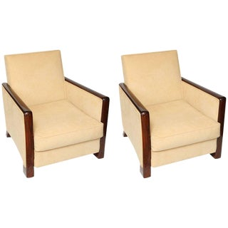 1930s Art Deco Rosewood Arm Chairs - a Pair