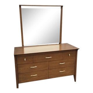 John Van Koert for Drexel Profile Walnut Long Dresser With Mirror For Sale