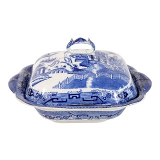 Antique 19th C. English Blue Willow Covered Serving Bowl For Sale