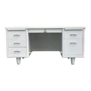 Vintage White Steel Tanker Desk For Sale
