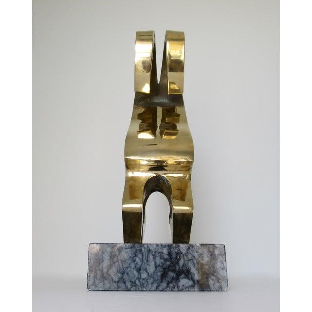 Vintage Mid-Century Large Modernist Brass Ram Sculpture on Marble Slab For Sale - Image 10 of 13