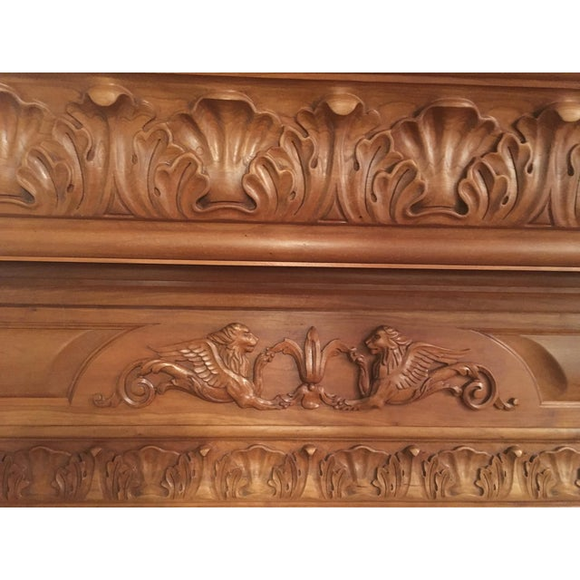 Humongous English Style Custom Carved Wood Lion Mantelpiece For Sale In New York - Image 6 of 13