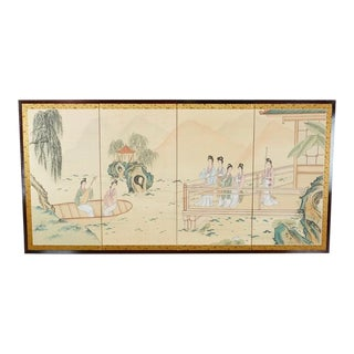 Asian Four Panel Silk & Black Lacquer Frame Table Screen For Sale