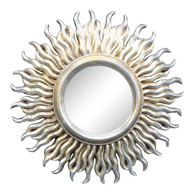 Mid-Century Silver Italian Sunburst Mirror For Sale