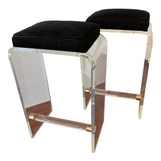 Vintage Lucite and Brass Waterfall Bar Stools - a Pair For Sale
