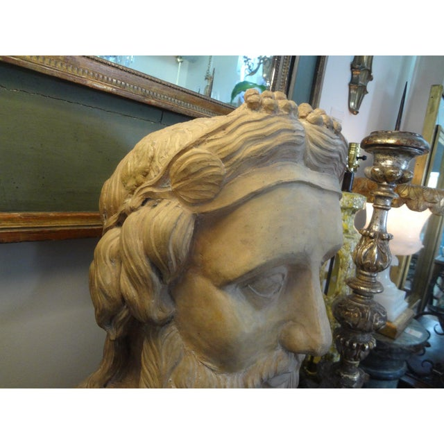 Terra Cotta 19th Century Monumental French Terra Cotta Bust of a Classical Greek For Sale - Image 8 of 11