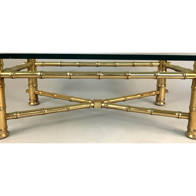 Vintage 1960s Gilded Bamboo and Glass Coffee Table For Sale - Image 4 of 5