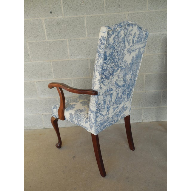 Blue Toile Arm Chairs - A Pair - Image 9 of 10