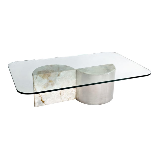 Aluminum and Onyx Coffee Table For Sale