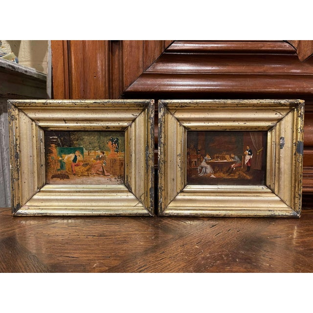 19th Century French Oil on Board Paintings in Carved Gilt Frames - a Pair For Sale - Image 9 of 9
