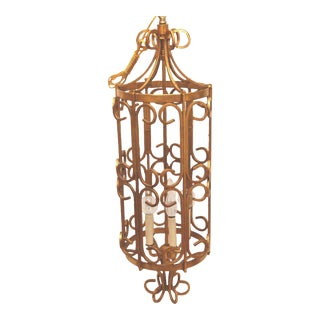 Vintage Hollywood Regency Wrought Iron Cage Chandelier