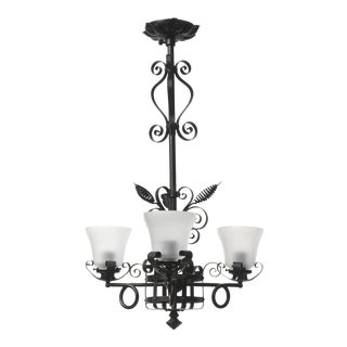 Gothic Victorian Three Light Wrought Iron Chandelier For Sale