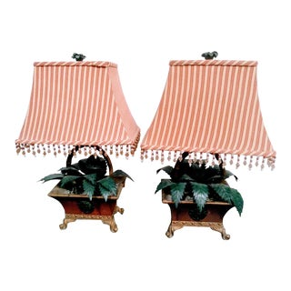 Vintage Masetrcraft Potted Floral Tole Lamps with Striped Cabana Shades - a Pair For Sale