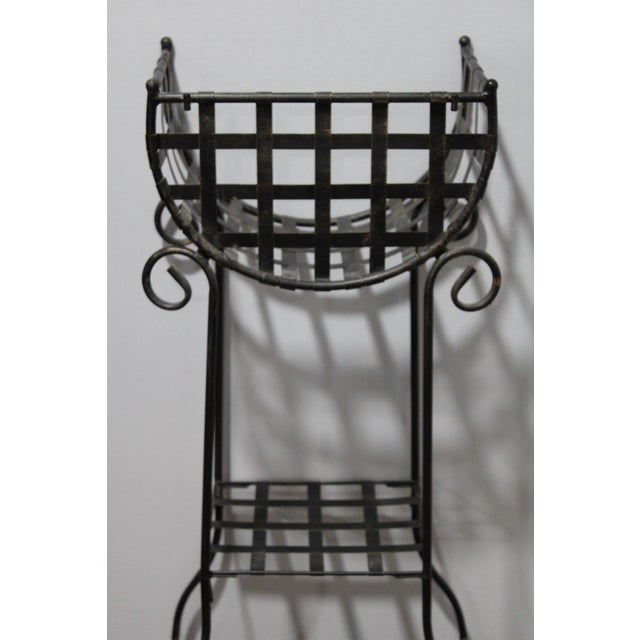 This Rustic Country French 3-Tiered Black Plant Stand. This cast iron shelving system has a lovely shape with lattice...
