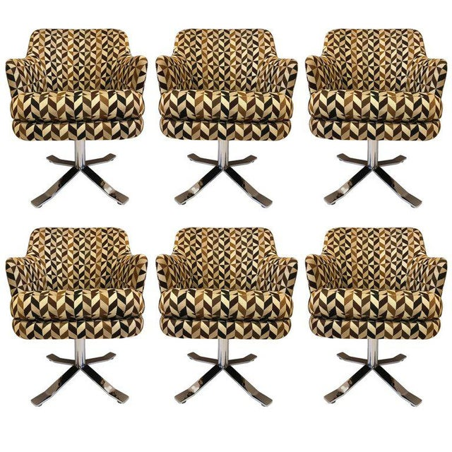 Fabric Set of Six Nicos Zographos Swivel Chairs For Sale - Image 7 of 9