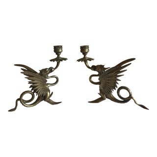 Asian Chinoiserie Flying Dragon Candleholders - A Pair