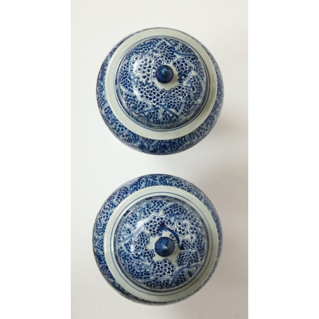 Chinese Chinese Blue and White Jars with Lids - A Pair For Sale - Image 3 of 13