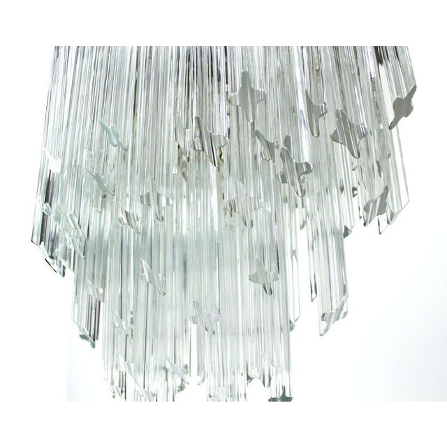 Early 20th Century Camer Mid-Century Modern Murano Chandelier Glass Prisms Light Fixture For Sale - Image 5 of 9