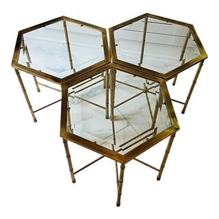 Mastercraft Mid Century Brass Glass Coffee Tables - Set of 3 For Sale