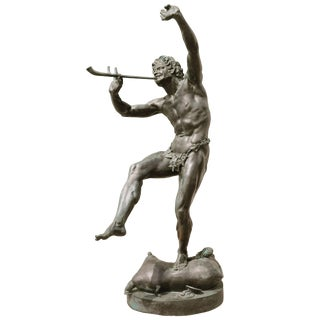 "French Verdigris Bronze of the ""Faune Dansant"" After Lequesne Early 20th Century For Sale"