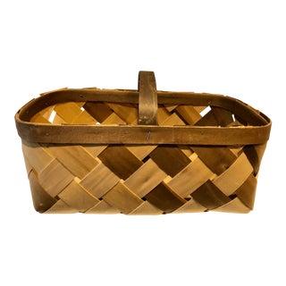 Vintage Handmade Veneer Basket For Sale