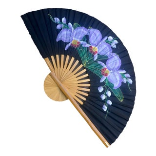 Vintage Asian Silk & Bamboo Decorative Wall Fan For Sale