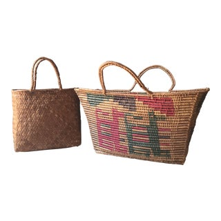 Vintage Wicker Baskets - a Pair For Sale