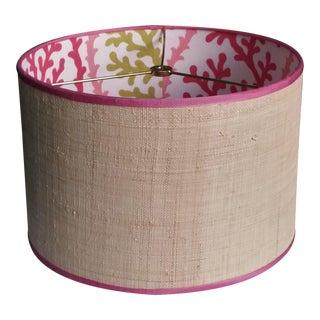 Lampshade Natural Raffia Drum Pink Grosgrain Ribbon Trim For Sale