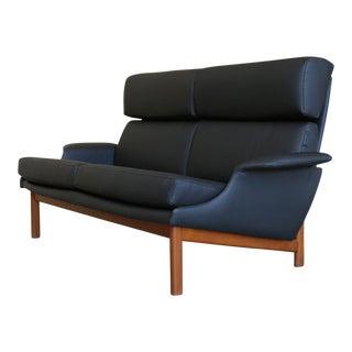 "Ib Kofod-Larsen for Mogens Kold Black Leather "" Adam "" Settee For Sale"