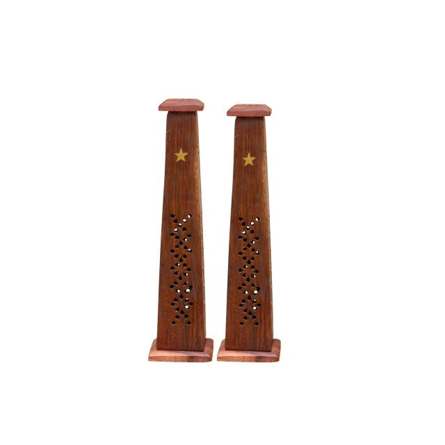 Wooden Incense Burner Towers With Brass Star Inlay, a Pair For Sale