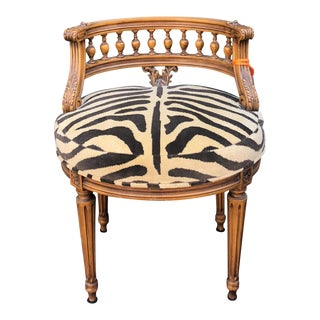 Antique Regency Style Low Boudoir Chair W Clarence House Zebra For Sale