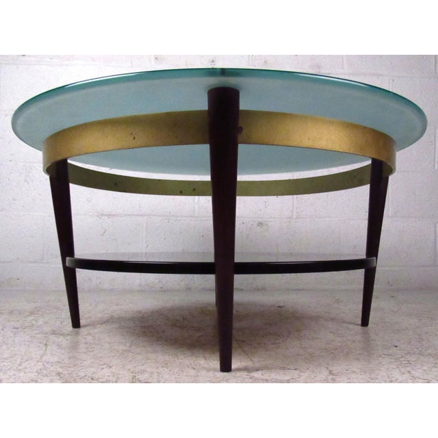 Mid-Century Floating-Top Glass & Brass Coffee Table - Image 4 of 9