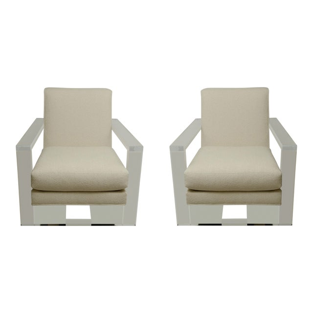 Pair of Milo Baughman Style Lucite Arm Chairs For Sale