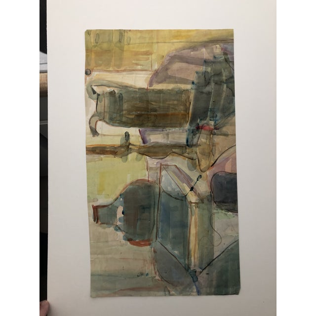 Mid-Century Female Nude With Violin Watercolor 1960s For Sale - Image 11 of 12