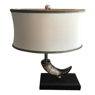 Maitland Smith Bull Horn on Mock Crock Leather Base Table Lamp