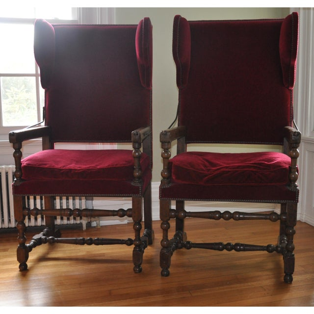 Louis XIII/IV Walnut & Red Velvet Adjustable Armchairs - Pair - Image 2 of 7