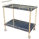 Image of Faux Bamboo Bar Cart For Sale